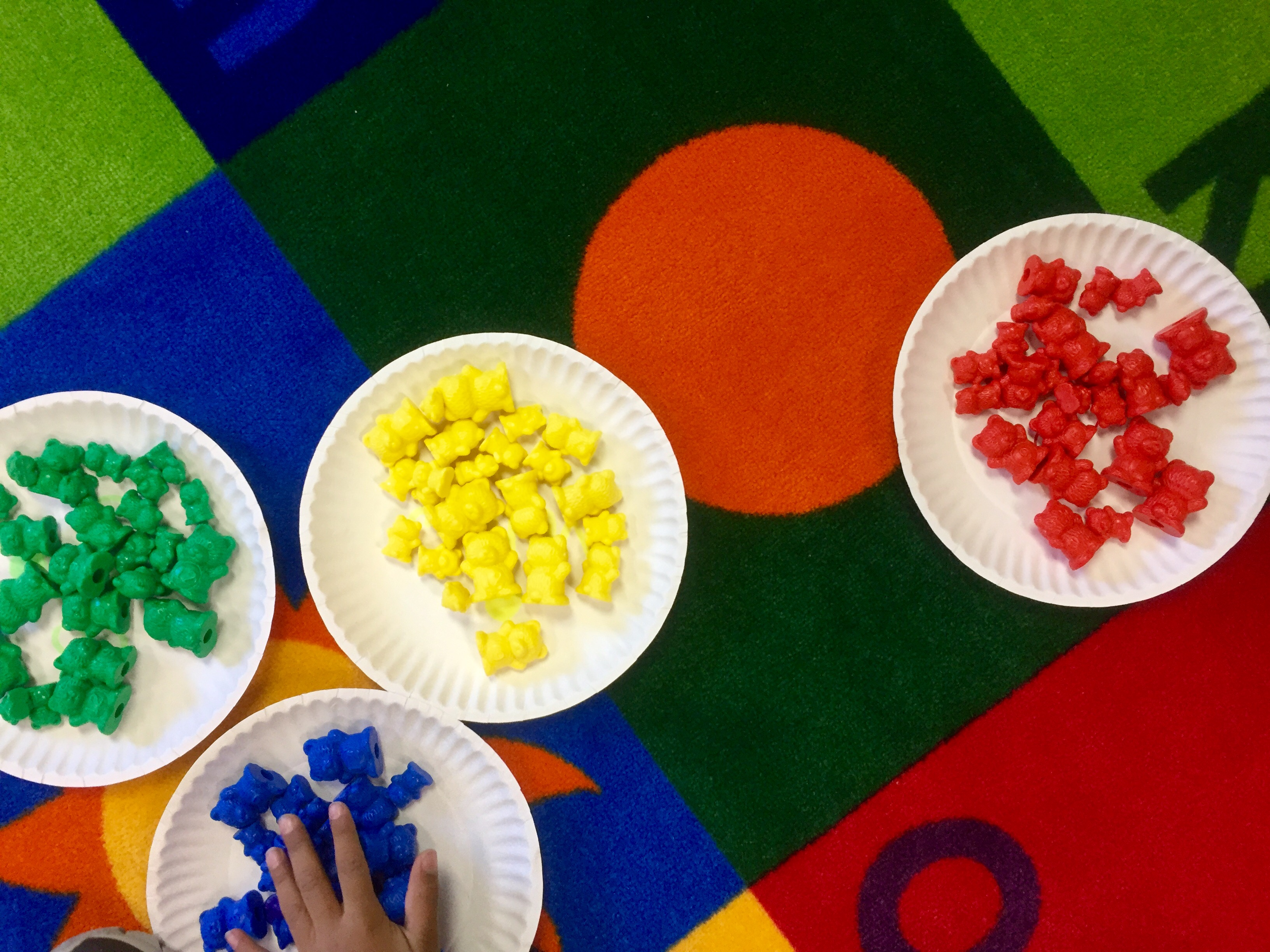 The classic manipulatives, like these colorful bears are perfect for so many things. I love just giving the kids a paper plate with color words on them and asking them to sort all of our bears.